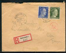 Allemagne - Enveloppe En Recommandé De Remscheid Pour La France En 1943 - Ref JJ 126 - Briefe U. Dokumente