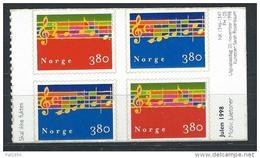 Norvège 1998, Bloc De 4 Issus De Carnet Neuf N°1254/1255 Noël - Used Stamps