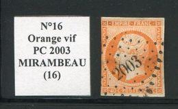 FRANCE- Y&T N°16a)- Orange Vif- PC 2003 (MIRAMBEAU 16) - Marcophilie (Timbres Détachés)