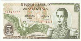 Billet - COLOMBIE - 5 Pesos Oro - UNC, NEUF  - Julio 20 De 1974 - Cordoba, Cartagena - Colombie