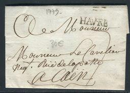 France - Lettre Avec Texte Du Havre Pour Caen En 1779 - Ref JJ 145 - 1701-1800: Precursors XVIII