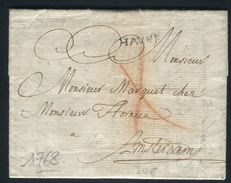 France - Lettre Avec Texte Du Havre Pour Amsterdam En 1768 - Ref JJ 148 - Poststempel (Briefe)