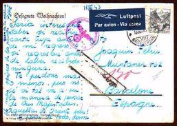 Girostamps54 - Postal Circulada Desde Suiza A Barcelona Con Diferentes Censura Militar En La Guerra Mundial 11/12/43 - Schweiz