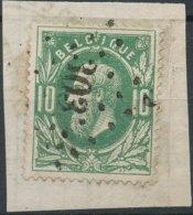 N° 30, Sur Petit Fragment, Superbe Obl Centrale 'LP303' Quaregnon, Nipa +6? - 1869-1883 Léopold II