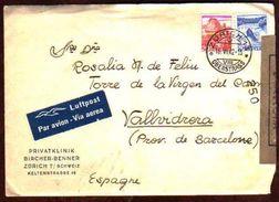 Girostamps54 - Carta Aérea Circulada Desde Suiza Zürich A Vallvidrera Barcelona Con Doble Censura Militar - Schweiz