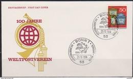 BRD FDC 1974 Nr.825 100 Jahre Weltpostverein ( D 3999 ) - FDC: Buste