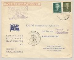 Nederland - 1949 - 5 En 50 Cent Juliana En Face Op LP-cover Van Rotterdam Naar Johannesburg / South Africa - Periode 1949-1980 (Juliana)