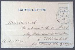 Carte-lettre De Franchise Militaire Interprète Formation C > Villebichot Oblitération Hexagonale Tiretée Mai 1940 - Marcophilie (Lettres)