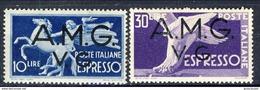 Trieste VG Zona A Posta Aerea Espressi 1946 Serie N. 1-2 MNH Cat. € 15 - 7. Triest
