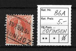 STEHENDE HELVETIA Gezähnt → SBK-86A, ZOFINGEN 10.MÄRZ 03 - Oblitérés