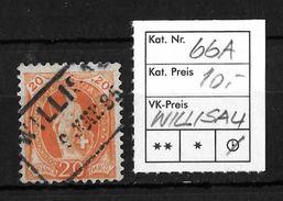 STEHENDE HELVETIA Gezähnt → SBK-66A, WILLISAU 9 JUNI 85 - 1882-1906 Armoiries, Helvetia Debout & UPU