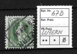 STEHENDE HELVETIA Gezähnt → SBK-67D, LUZERN 9.NOV 96 - 1882-1906 Wappen, Stehende Helvetia & UPU