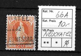 STEHENDE HELVETIA Gezähnt → SBK-66A, NEUCHATEL 1882 - 1882-1906 Armoiries, Helvetia Debout & UPU
