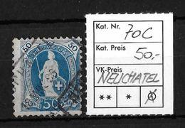 STEHENDE HELVETIA Gezähnt → SBK-70C, NEUCHATEL18 MRS 96 - 1882-1906 Wappen, Stehende Helvetia & UPU
