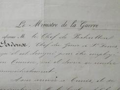 ORDRE De REJOINDRE TUNIS - CHEF De BATAILLON LADOUX, Chef Du GENIE - 12 Novembre 1881 - Ministère De La Guerre -A Voir! - Documents Historiques