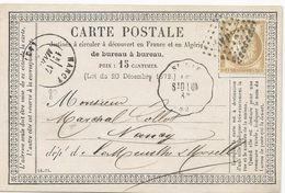 2 CARTES POSTALES PRECURSEUR 1876 AVEC CACHET CONVOYEUR SAINT DIE LUNEVILLE - Poststempel (Briefe)