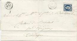 LETTRE 1857 AVEC TIMBRE A 20 CT EMPIRE BORD DE FEUILLE ET CACHET PC 1810 -LUSSAC LES EGLISES- - 1849-1876: Période Classique