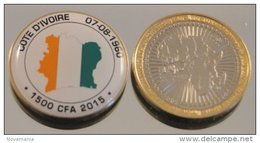Côte D'Ivoire 1500 CFA 2015 Bimetal Couleurs Drapeau - Côte-d'Ivoire