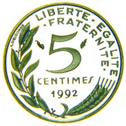 [NC] FRANCE - 5 CENTIMES 1992 FS / BE - Francia