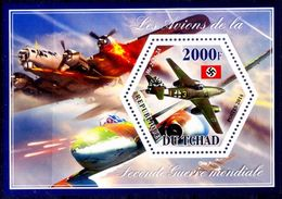 Tchad MNH SS, Hexagoan Odd Unusual Shape Stamps, Aviation, Fighter Planes (d) - Avions