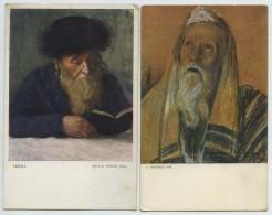 8 Cartes Polonaises Thème Judaïca. Reproduction De Tableaux. Rabbins. Pologne. - Jewish