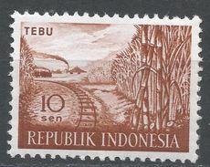 Indonesia 1960, Scott #495 (MH) Sugar Cane And Railroad, Cane A Sucre Et Chemin De Fer - Indonésie