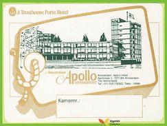 Voyo HOTEL APOLLO Amsterdam Holland Label  Sticker 1980s Vintage - Etiquettes D'hotels