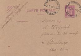 E.P. Y&T 281-CP 1 Obl PFAFFENHOFFEN Du 21.3.34 Adressé à Strasbourg - Marcophilie (Lettres)