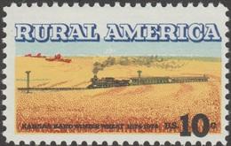 USA 1974 Y&T 1035. Curiosité, Couleurs Déplacées. Amérique Rurale, Train à Vapeur Dans Traversant Un Champ De Blé Kansas - Eisenbahnen