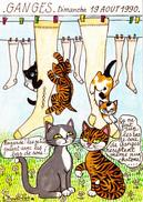CPM GANGES Carte De Salon 1990 Chat Cat Bas De Soie Illustrateur J. BOURDILLON + Signature (2 Scans) - Collector Fairs & Bourses