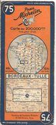 CARTE-ROUTIERE-MICHELIN-N °75-1936-N° 115-3618-BORDEAUX TULLE - Pt Coupures-B E - Cartes Routières