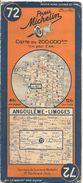 CARTE-ROUTIERE-MICHELIN-N °72-1936-N° 104-3621-ANGOULEME -LIMOGES - Pt Coupures-B E - Cartes Routières