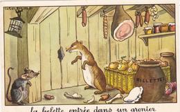 """Fable """"la Belette Entrée Dans Un Grenier"""" Souris Mouse Maus  Pommes Apple Jean DE LA FONTAINE (2 Scans) - Vieux Papiers"""