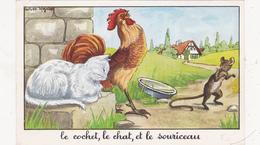"""Fable """"le Cochet, Le Chat Et Le Souriceau"""" Souris Mouse Maus Coq Galinacée Jean DE LA FONTAINE (2 Scans) - Vieux Papiers"""