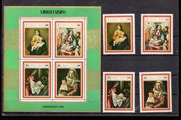 SAMOA 254/257 + BLOC 1** SUR DES TABLEAUX POUR NOEL 1969 - Samoa