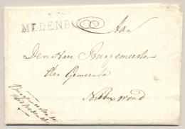 Nederland - 1815 - Gekapt Departementstempel MEDENBLICK Portvrij Op Vouwbrief Van Burgemeester Naar Nibbixwoud - Nederland