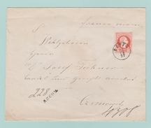 AUT11 Lettre 5k X3.  RECOM. N°228 De HATNA 27.10.77 ( Suczawa = Moldavie ) Pour Czernowitz 27.10..77 =N°4308 - 1850-1918 Imperium