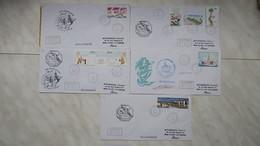 TAAF  Lot De 5 Lettre  En Partance Du Port-Aux-Français-Kerguelen  Des Années 1991-1992 Oblitéré Pour La France - Tierras Australes Y Antárticas Francesas (TAAF)