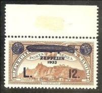 1933 San Marino Saint Marin CROCIERA ZEPPELIN  CRUISE 12 Lire MNH** - Poste Aérienne