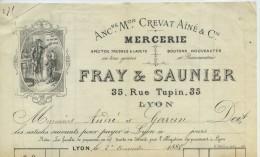 Mercerie Fray & Saunier, 65 Rue Turpin à Lyon. Fil Au Maître D'Ecole. + Facturette. 1888. - 1800 – 1899