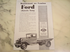 ANCIENNE PUBLICITE CAMION FORD CHASSIS LONG  1930 - Camions