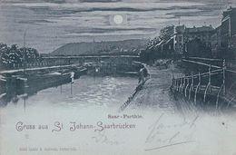Allemagne, Gruss Aus St Johann - Saarbrücken, Saar - Partie, Mondschein (20.2.98) Pli D'angle - Saarbruecken