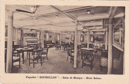 """Paquebot """"Roussillon"""" Salle De Musique (piano, Divans) - Music Saloon - French Line - Pas Circulé - Dampfer"""