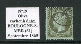 FRANCE- Y&T N°19- Cachet à Date De BOULOGNE SUR MER 61 - 1862 Napoléon III