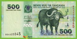 Voyo TANZANIA 500 Shilingi ND(2003) P35 B134a Prefix BQ UNC Buffalo - Tanzania