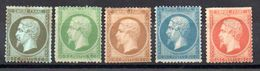 FRANCE - 1853 - YT N° 19 à 23 - Neufs Sg - Cote: 1160,00 € (DF) - 1853-1860 Napoleone III