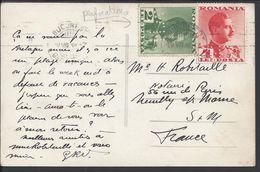 """ROUMANIE - 1936 - Type Charles II, 2 + 4 Lei Perforés A.H Sur CPA """"Mamaia Toboganul V.N. 18 - B/TB - - Covers & Documents"""