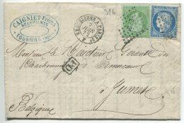 Napoléon N°35 + Cérès N°60 + EP 2° + Ambulant /lettre Tarif Frontalier 2 Ports De Fourmies (nord) Pour Jumet (Belgique) - 1870 Siege Of Paris