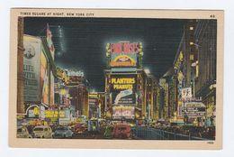 Old Postcard TIME SQUARE AT NIGHT New York City Usa - Manhattan