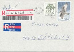 Sweden Registered Cover With Highvalued 50 Kr. Gyrfalcon 18-11-1996 - Sweden